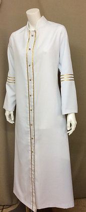 White Robe Dress with Gold Trim