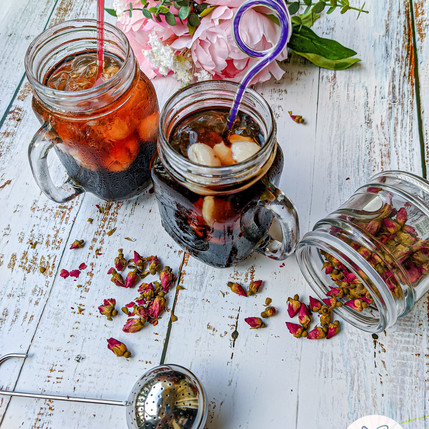 Rose Infused Tea with Grass Jelly and Lychee