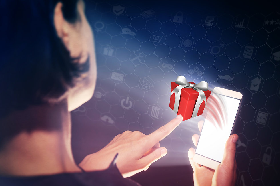 Image of a woman with a smartphone in her hand. She presses on the gift. Concept of gift g...ts..jpg