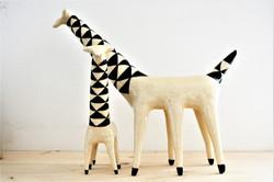 Giraffen, 11cm x 17cm und 27cm x 23cm,Keramik,  2018