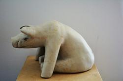 _Leistungsträger_, Steinzeug, weiß, 1250°C, 2017, 19cm x 22cm x 33cm, (c) Olivia Weiß
