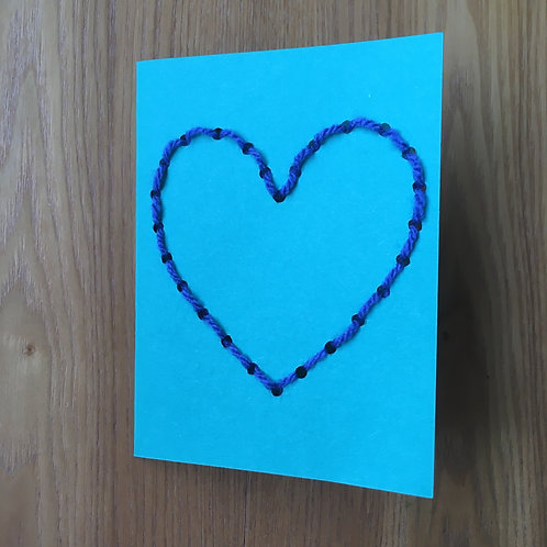 Sewing Single Heart Card - Mother's Day