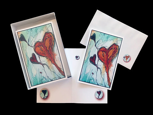 Earth Tone Hearts, Large Greeting Cards