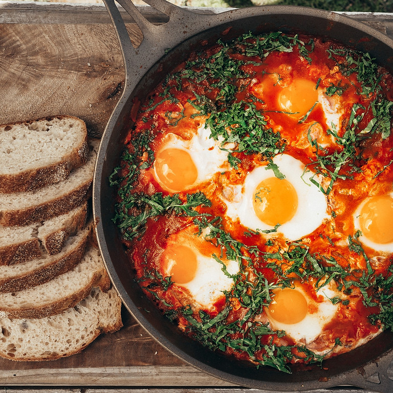 Dinner at The Lab - Shakshooka with potatoes