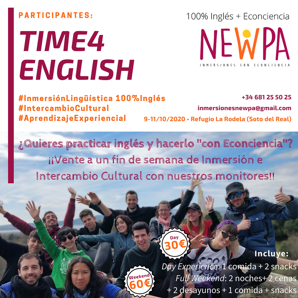 Time4english inmersiones ingles naturaleza fin de semana intercambio cultural