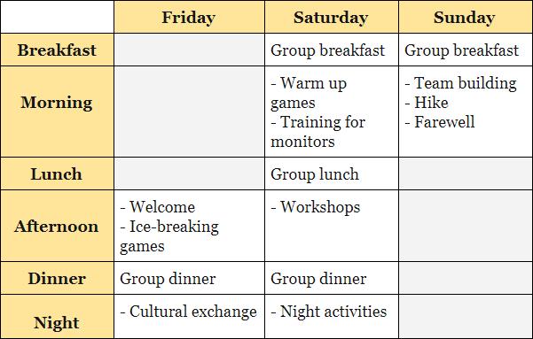 Programa actividades training monitores tiempo libre inglés naturaleza