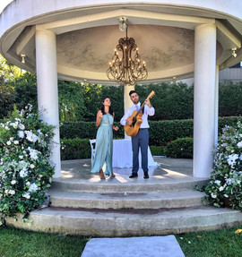 Wedding ceremony at Miramare Gardens.  Sydney acoustic duo.