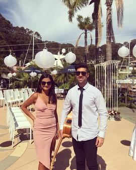 Wedding Ceremony at Royal Motor Yacht Club, Brocken Bay.  Sydney acoustic duo.