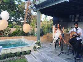 Engagement garden party at private residence.  Sydney acoustic duo.