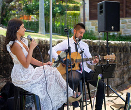 Garden wedding ceremony and reception - private residence.  Sydney acoustic duo.