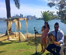 Wedding ceremony at Cremorne Point, Sydney.   Sydney Acoustic Duo.