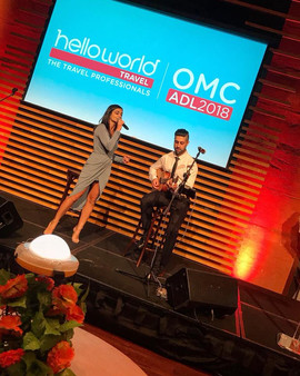 XO Duo performing at the Hello World Conference at the Adelaide Wine Centre.  Sydney acoustic duo.