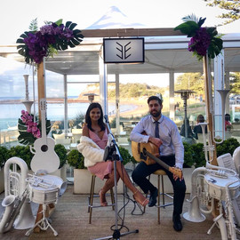 XO Duo performing at the Love at the Beach Wedding Open Day at Longreef Golf Club, Collaroy.  Sydney acoustic duo.