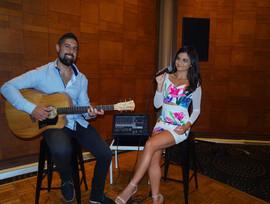 Jones partners Christmas Party at L'Aqua Darling harbour.  Sydney acoustic duo.