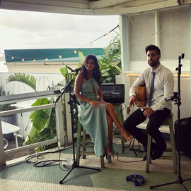 Wedding reception at Watsons Bay Boutqiue Hotel.  Sydney acoustic duo.