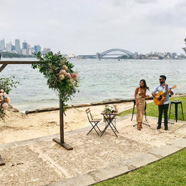 Wedding ceremony at Bradley's Head. Sydney acoustic duo.