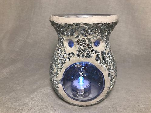 Crackle Glass Oil Burner - Silver