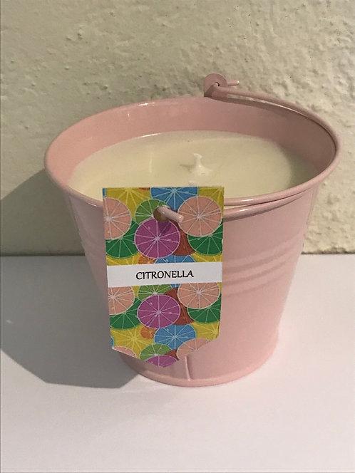 Patio candle - pink bucket