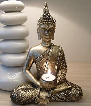 Buddha tea light holder - Bronze effect