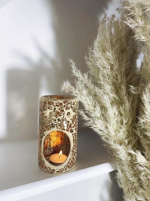 Crackle Glass Oil Burner - Gold