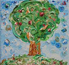 Malerei in der Größe 15x15 cm, zu sehen ist ein Apfelbaum auf einer Wiese, gemalt mit Acrylfarben in Stuttgart im Januar 2021