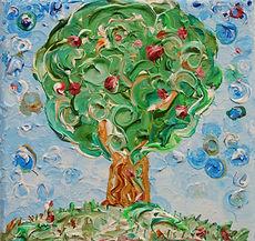 Apfelbaum auf Wiese, Malerei Stuttgart