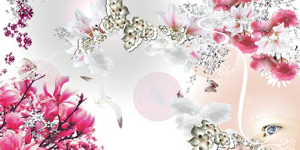 Digitale Collage eines Bildes mit Hilfe von Photoshop. Zu sehen sind Blumen, Schmetterlinge, Sterne, eine phantastische Landschaft, ein Poster fürs Wohnzimmer