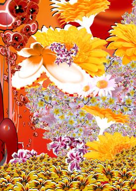 Titel: Bunt, Kunstdruck mit bunten Blumen, Jahr 2006
