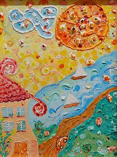 Landschaft mit Sonne und Haus, Malerei