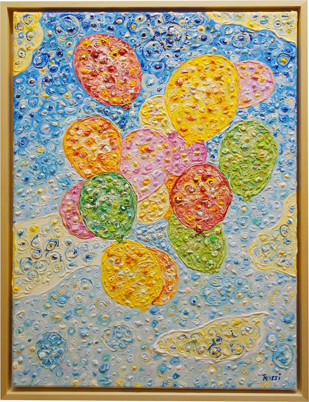 Auf dem Gemälde sind fliegende Ballons zu sehen, die an Wolken vorbeifliegen. Acrylfarbe.