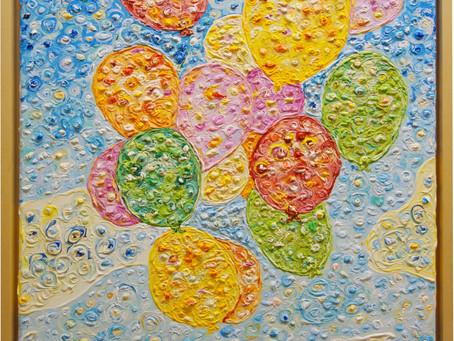 """Bild mit dem Titel """"Ballons"""" - Malerei in den Himmel"""