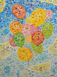 Luftballons, gemalt mit Acrylfarben auf Leinwand.