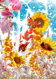 Frühling und Schmetterlinge, Poster digitale Kunst