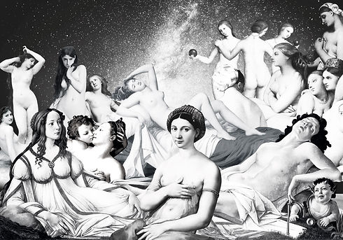 Collage aus Gemälden von alten Meistern, mit zumeist jungen Frauen. Das Bild ist in Schwarz/Weiß, stellt in Stuttgart im Jahr 2020