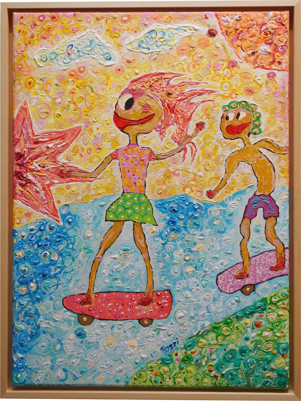 Zwei Skater fahren vor dem Sonnenuntergang, Acryl Malerei