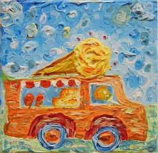Eiswagen fährt vor, Malerei einer Serie