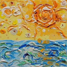Sonne über dem Meer, ein Gemälde von Stephan Rossmann, erstellt 2021 in Stuttgart, Acryl auf Leinwand