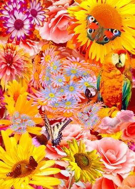 Dschungel, Kunstdruck mit Blumen, Papagei und Schmetterling