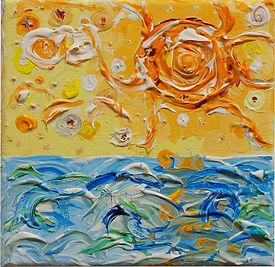 'Naive Malerei: Sonne über dem Meer, erstellt in Stuttgart 2021, Acryl Farben auf Leinwand, nicht gerahmt, bestimmende Farben sind Orange und Blau, sowie ein wenig weiss.