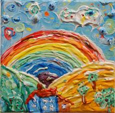 Malerei 15x15cm, Teil einer Serie, Regenbogen