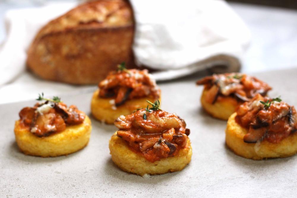 polenta cakes with mushroom sauce