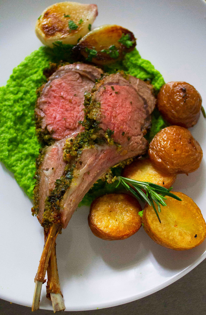 Herb Crusted Rack of Lamb with Pea Puree