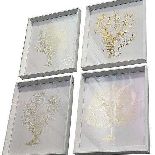 Premium Art, Coral print in Gold Foil with White frame and glass set of 4