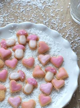 Mini-Kekse Herzchen und Glückspilze