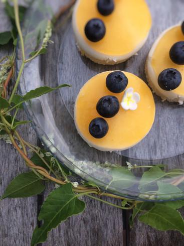 Vanilletörtchen mit Orangenspiegel und Blaubeeren