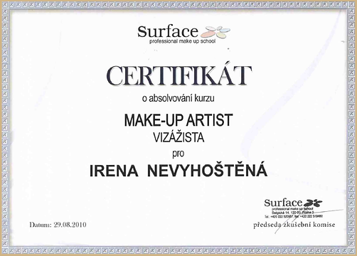 certifikát make-up artist Irena-visage