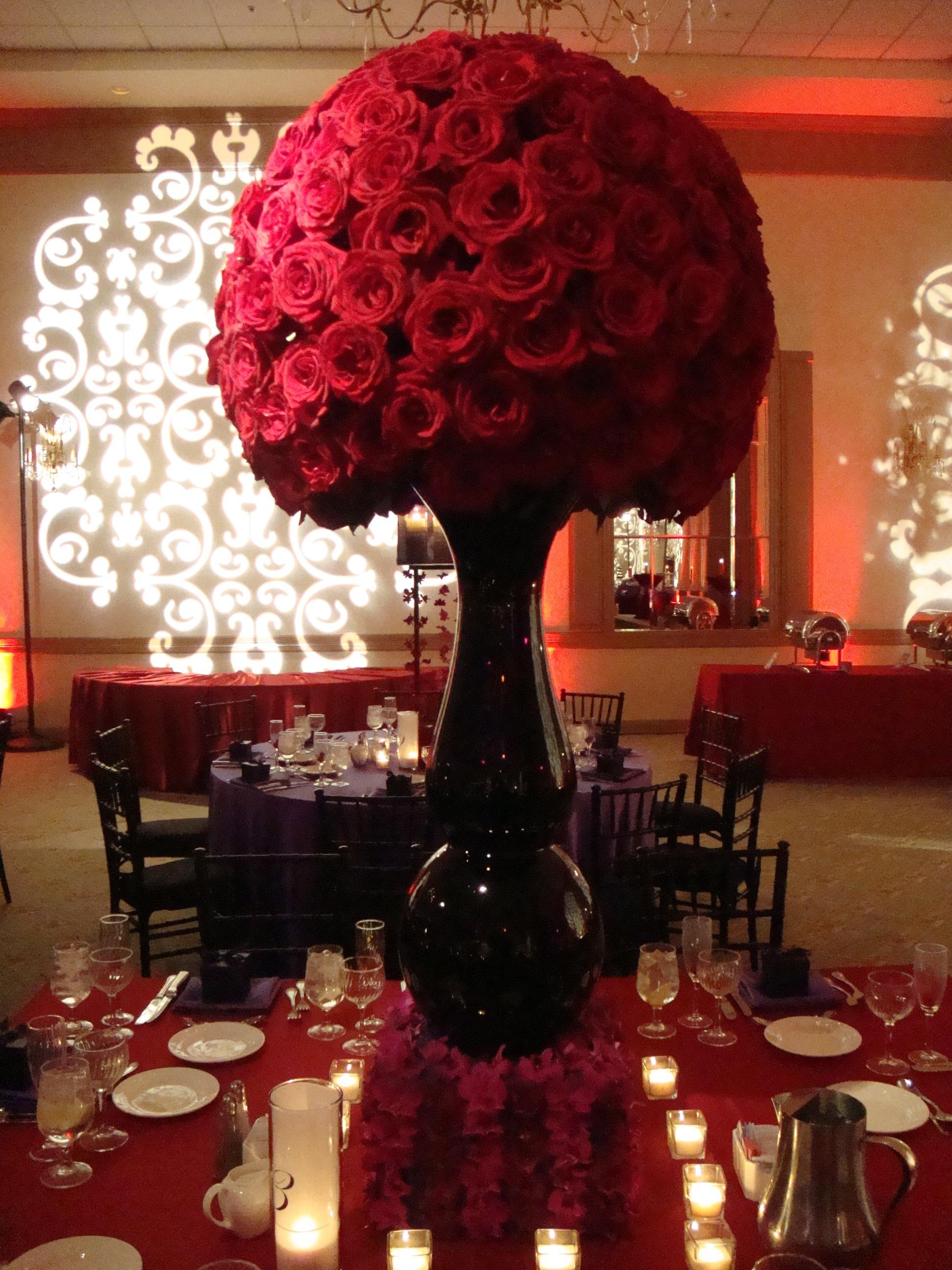 Red Rose Ball Black Vase Pink Orchid
