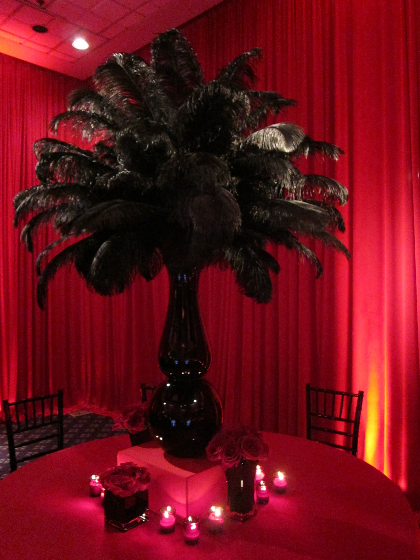 Black Feather Centerpiece Red Roses