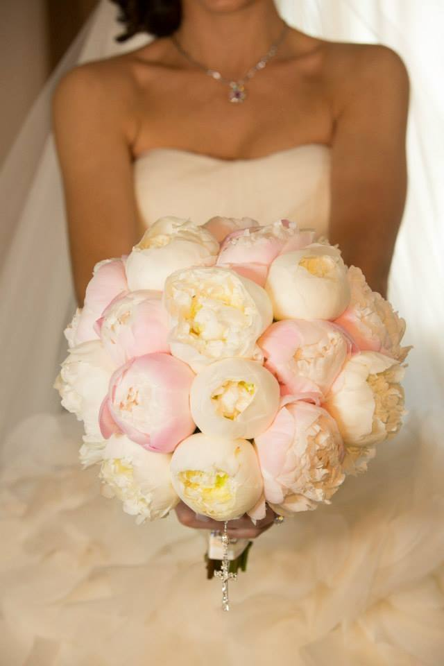 Blush and White Peony Bridal Bouquet Bride