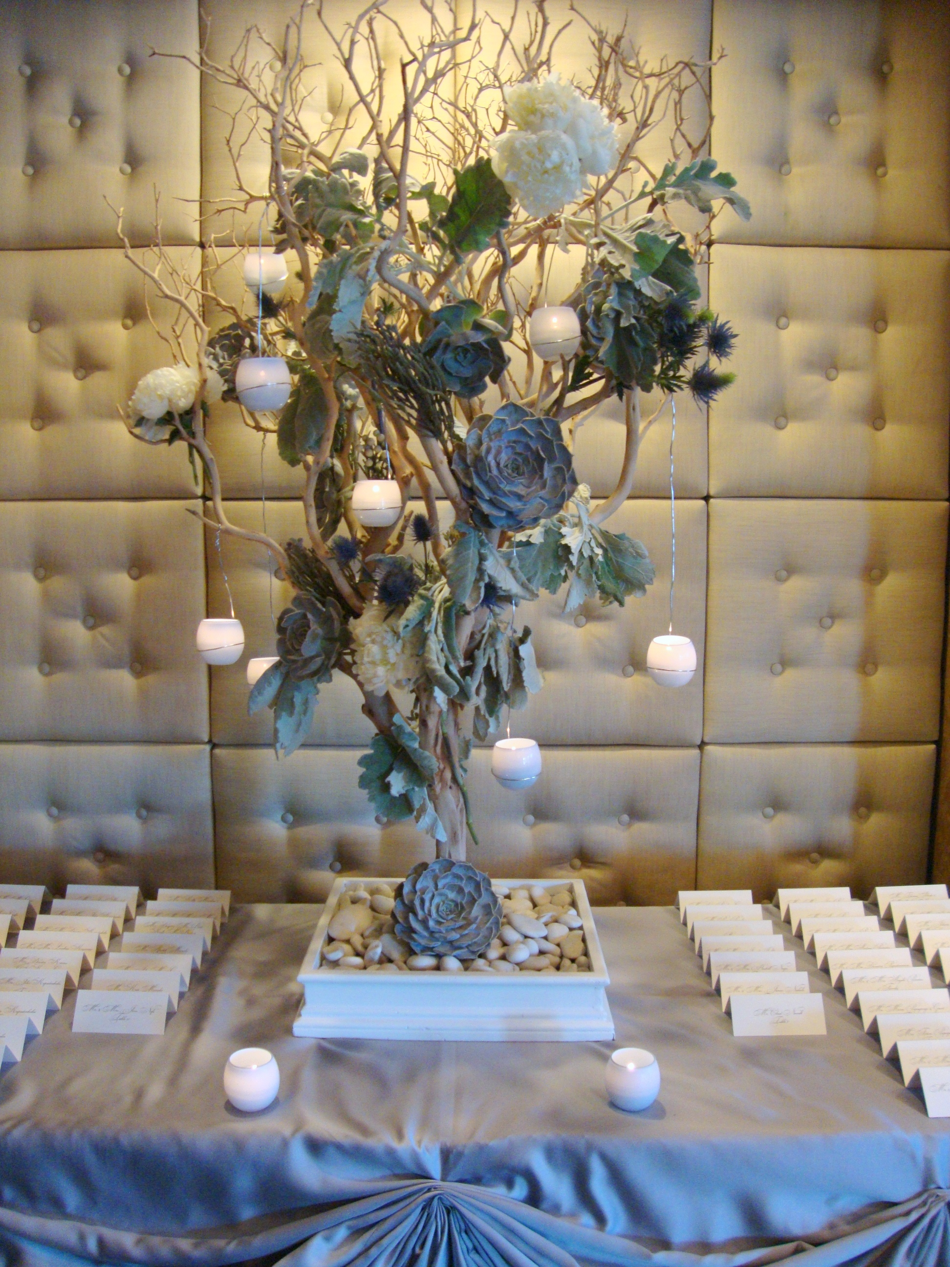 Branches with Succulents and Votives
